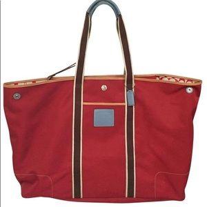 COACH Red Hamptons Weekender Large Tote Bag